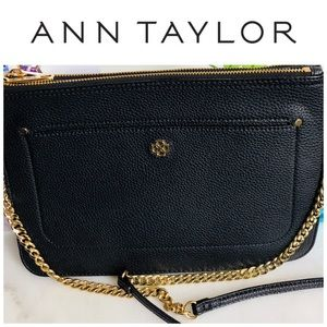 Ann Taylor Black Leather Clutch